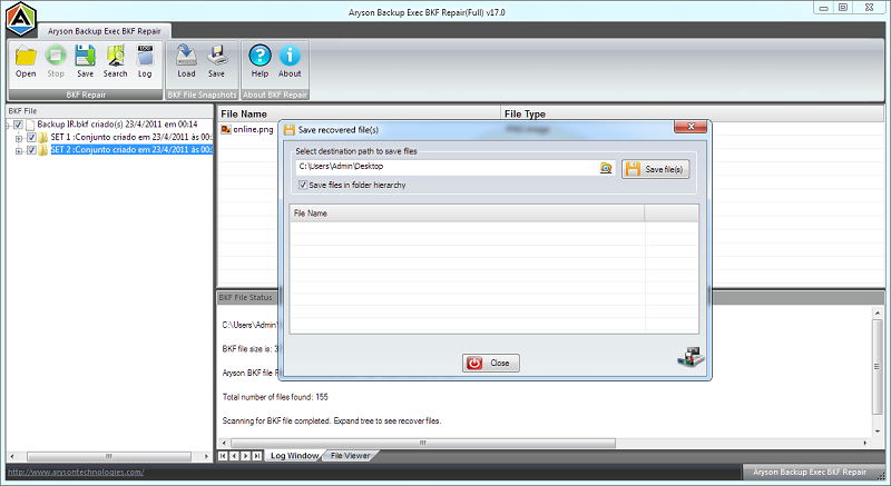 Backup Exec BKF Recovery Screenshot