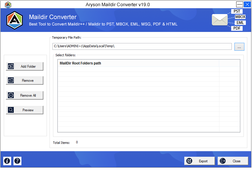 Aryson Maildir Converter to export Maildir to PST, EML, MSG