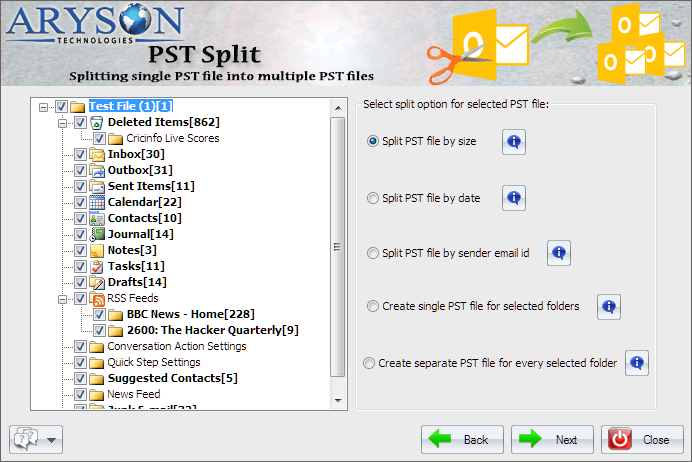Split PST Tool to Split Large Outlook PST File into Smaller PST