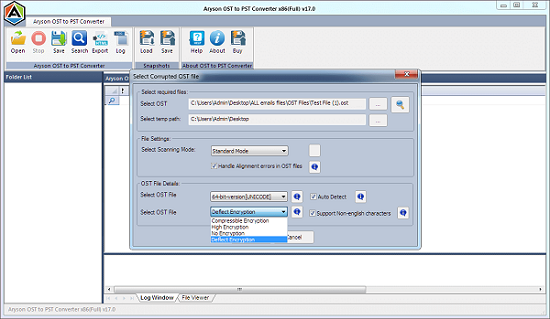 Aryson OST to PST Converter full screenshot