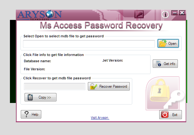 Aryson Access Password Recovery Screen shot