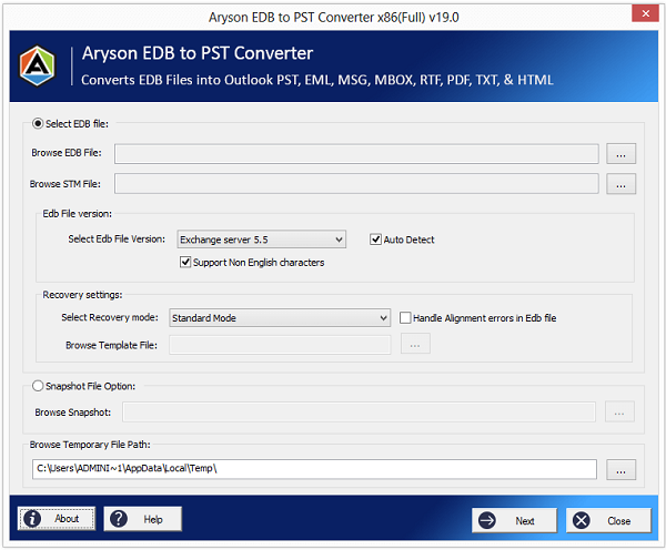 Aryson EDB to PST Converter full screenshot