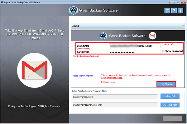 Aryson Gmail Backup Software 19.0 Screen shot