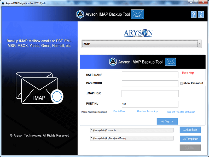 Click to view Aryson IMAP Backup Tool 20.0 screenshot