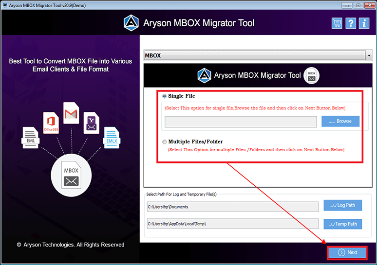 Aryson MBOX Migrator full screenshot