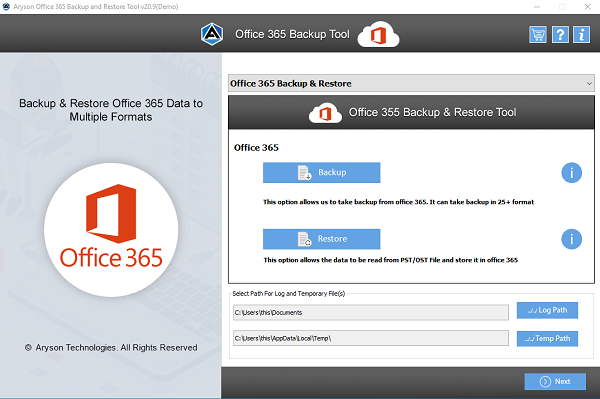 Aryson Office 365 Backup & Restore Tool full screenshot