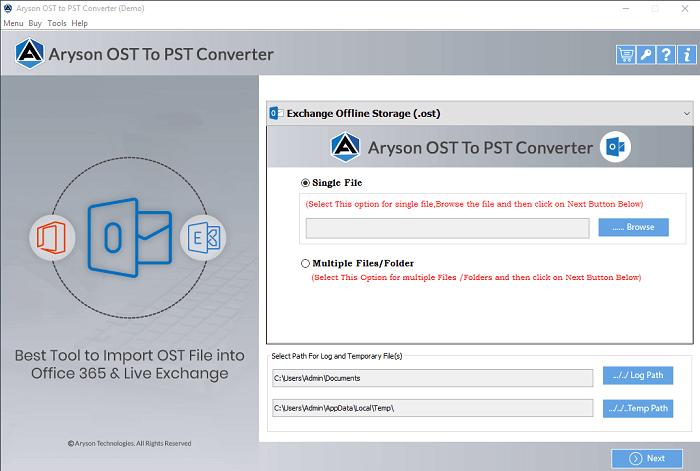 Aryson OST to PST Converter