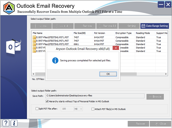 Deleted Outlook Email Recovery full screenshot