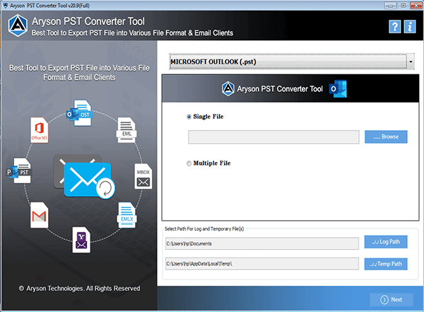 Aryson PST File Converter full screenshot