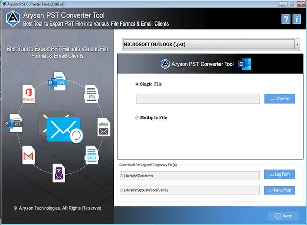 Aryson PST File Converter full screenshot