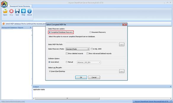 SharePoint Server Disaster Recovery Tool full screenshot