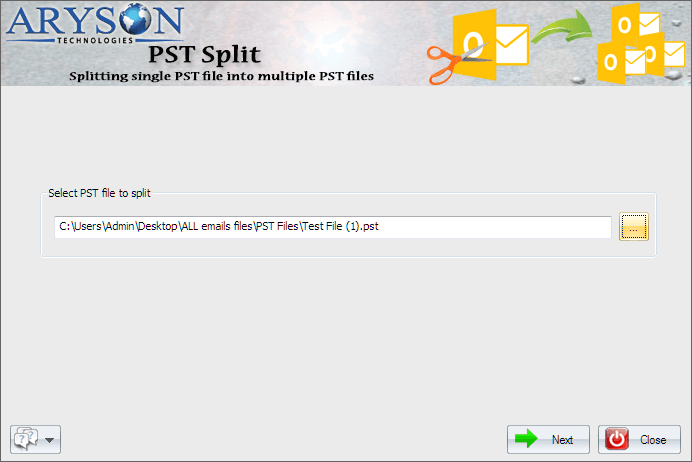 Split Large PST File by Aryson PST Split