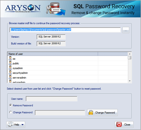 Try free Aryson SQL Password Recovery Tool