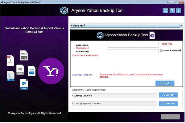 Aryson Yahoo Backup Tool full screenshot