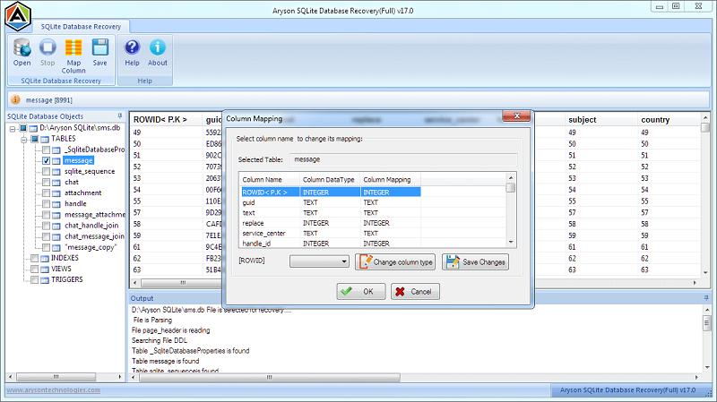 Click to view SQLite Database Recovery 17 screenshot